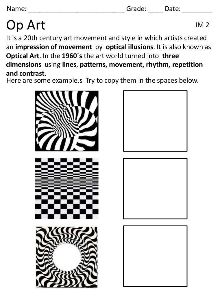Optical Illusion Worksheets Op Art Lessons Tes Teach