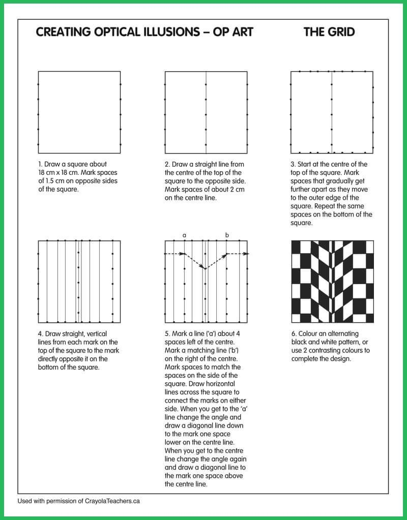 Optical Illusion Worksheets Optical Illusions Grid