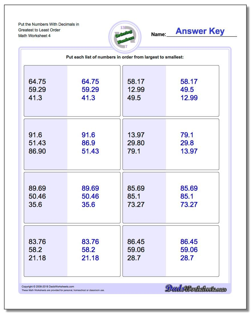 vertical order numbers with mixed decimals greatest to least v4