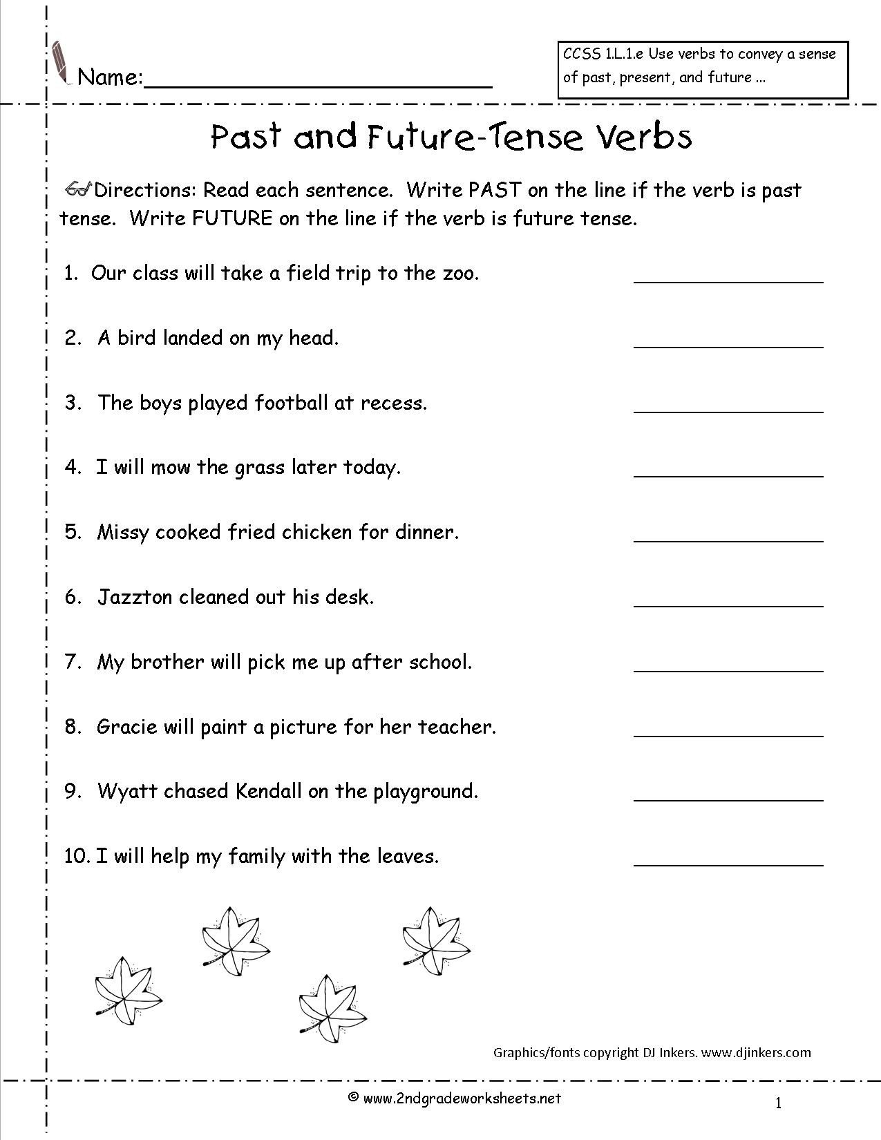 Past Present and Future Worksheets Present Tense Worksheet Grade 2
