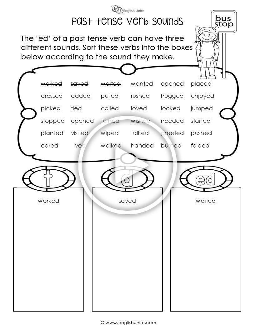Past Tense Ed Worksheets Past Tense Verb sounds Worksheet the Ed Of A Past Tense