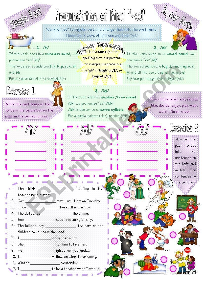 Past Tense Ed Worksheets Pronunciation Of Final Ed In Simple Past Of Regular Verbs