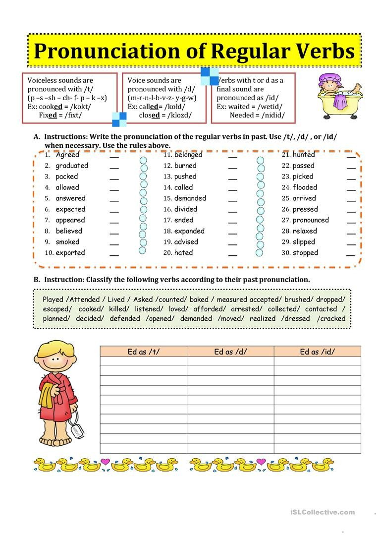 Past Tense Ed Worksheets Pronunciation Of Regular Verbs In Past English Esl