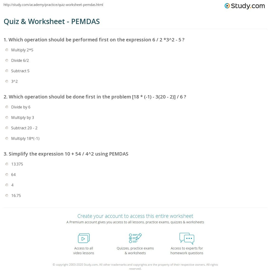 quiz worksheet pemdas