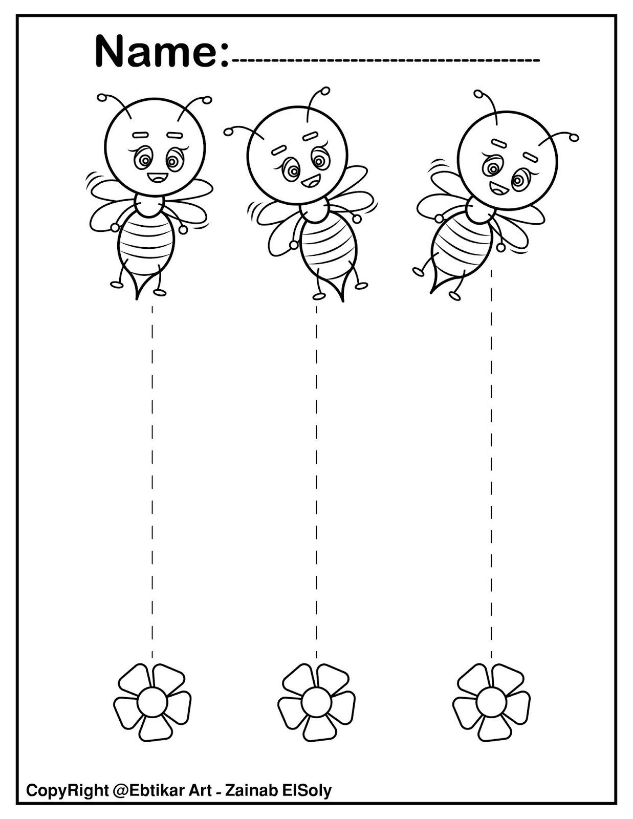 Pen Control Worksheets Set Of Fine Motor Tracing Bee Activity