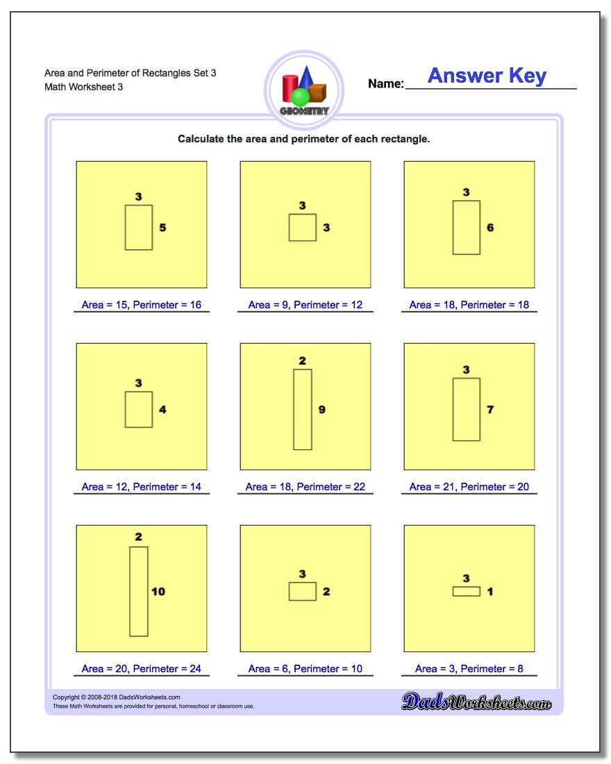 area and perimeter rectangles worksheets 3 v3