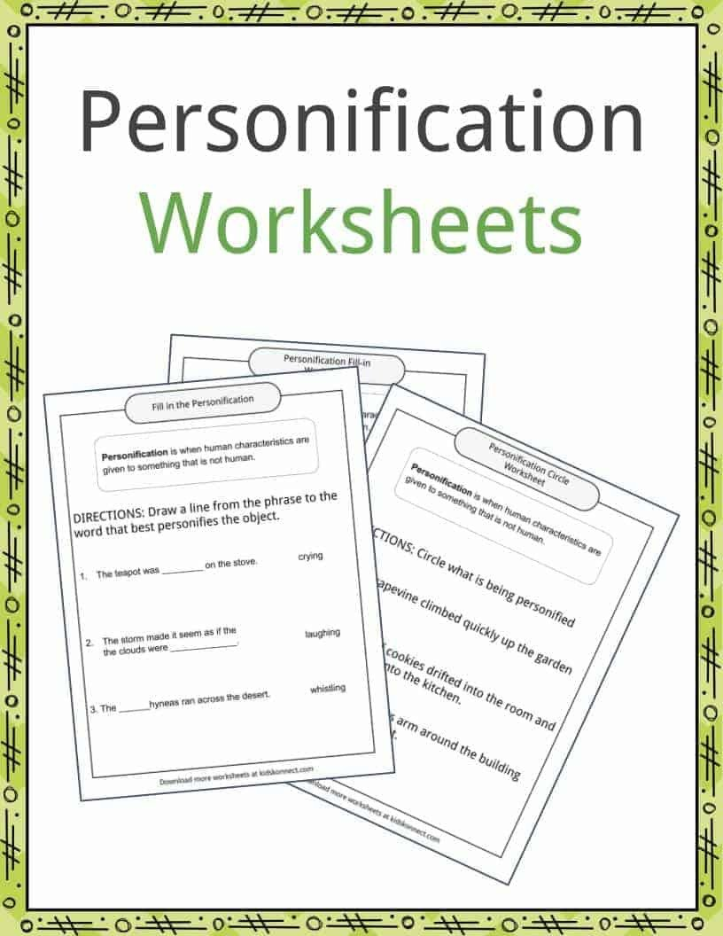Personification Worksheet 2 Personification Examples Definition and Worksheets