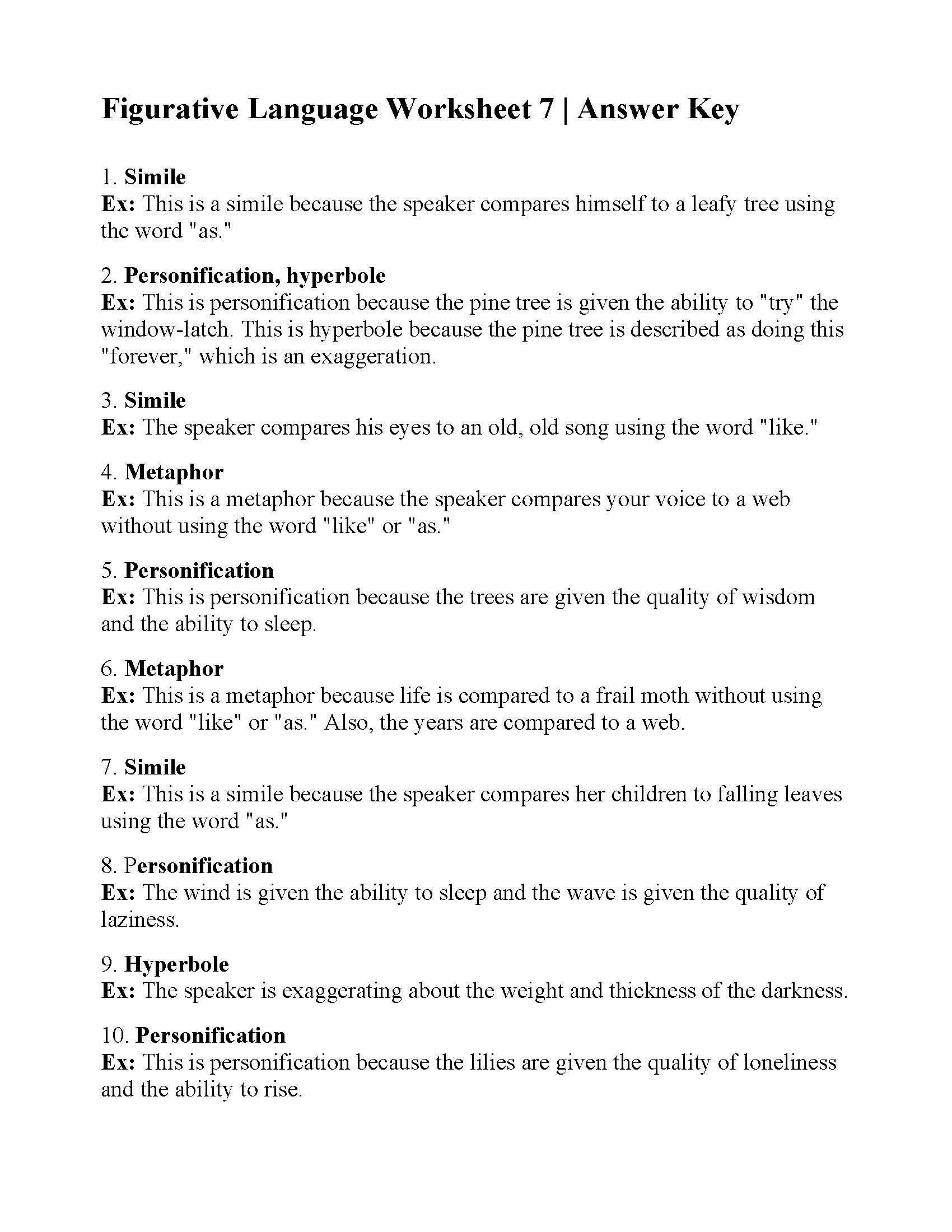 Personification Worksheets Answers Figurative Language Test 1 Answer Key