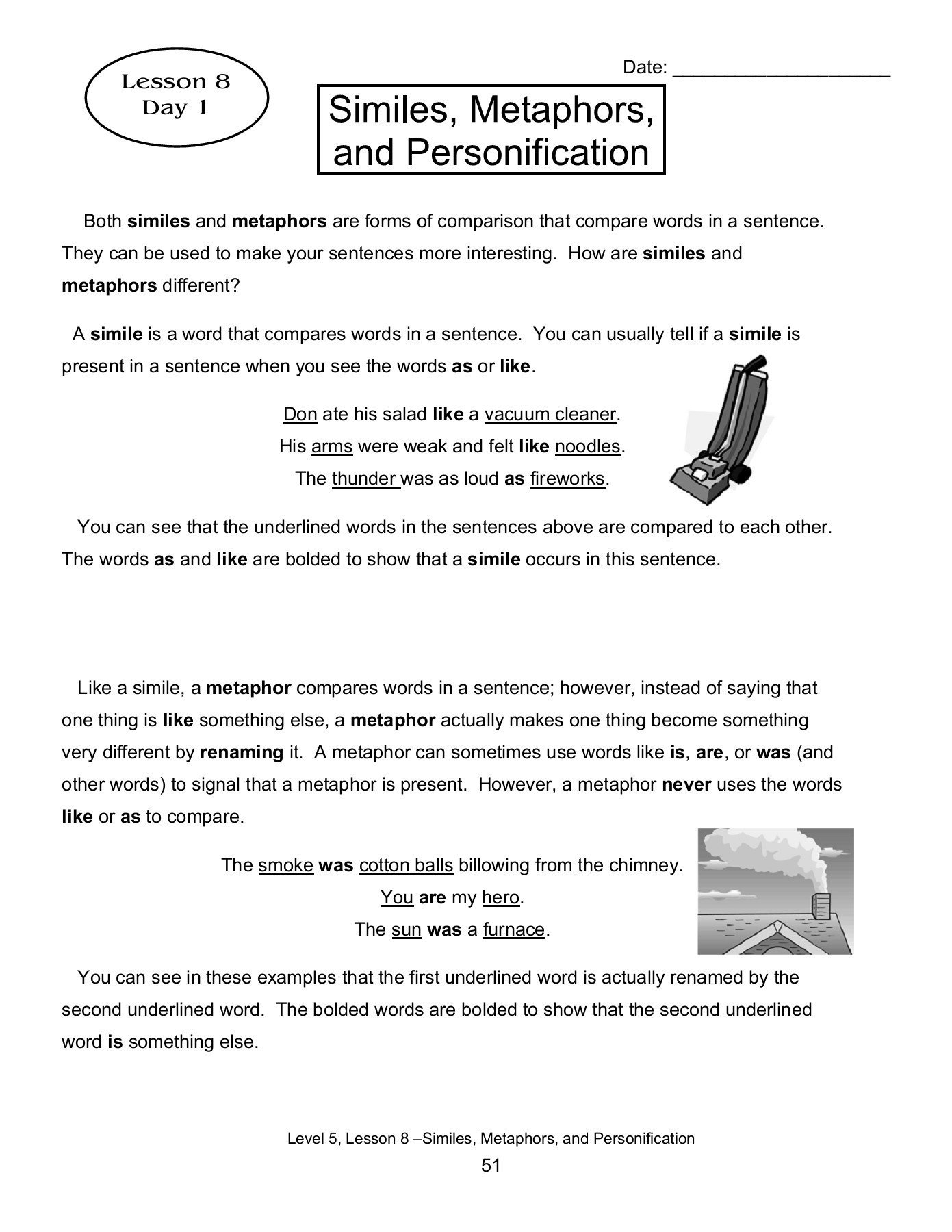 Personification Worksheets Answers Lesson 8 Similes Metaphors and Personification Pages 1