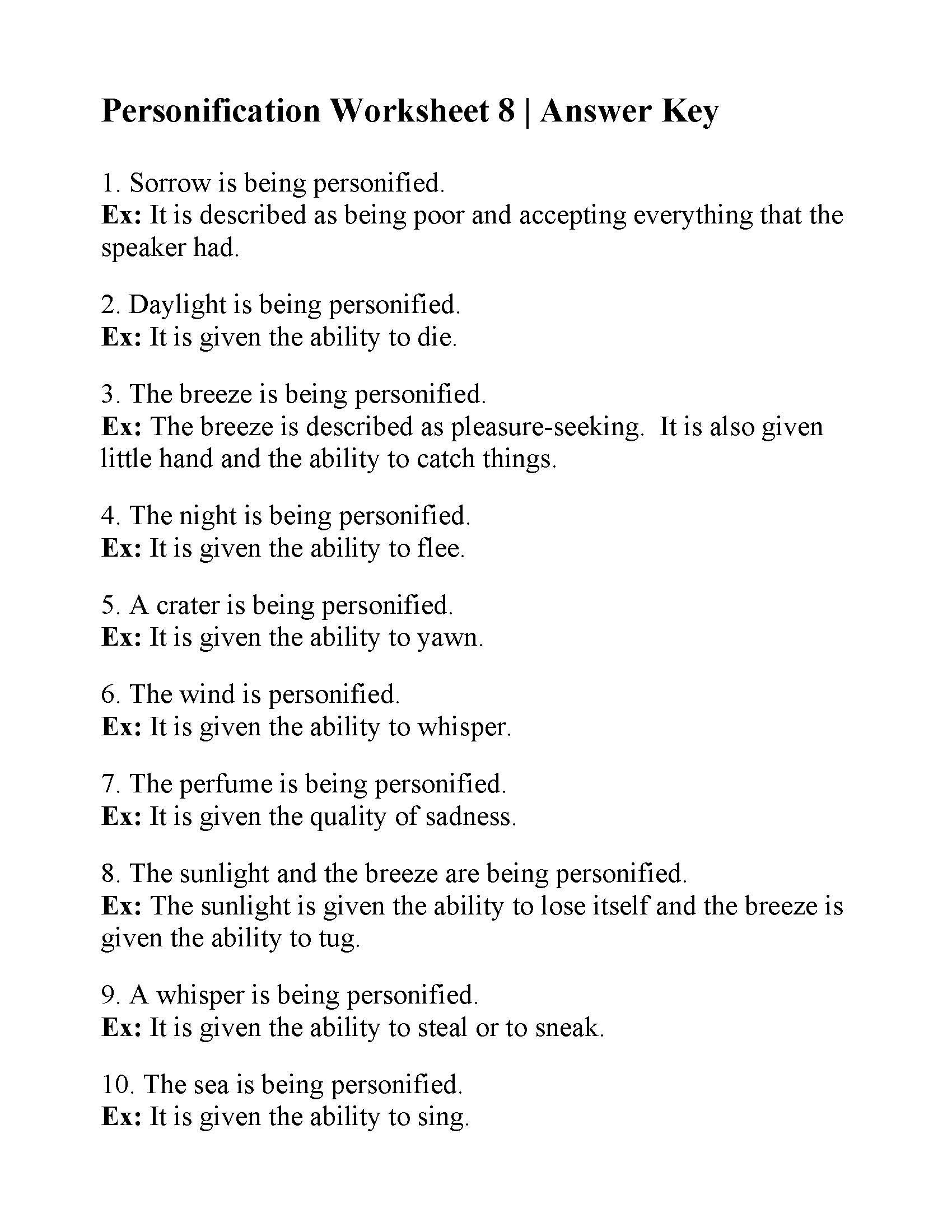 Personification Worksheets Answers Personification Worksheet 8