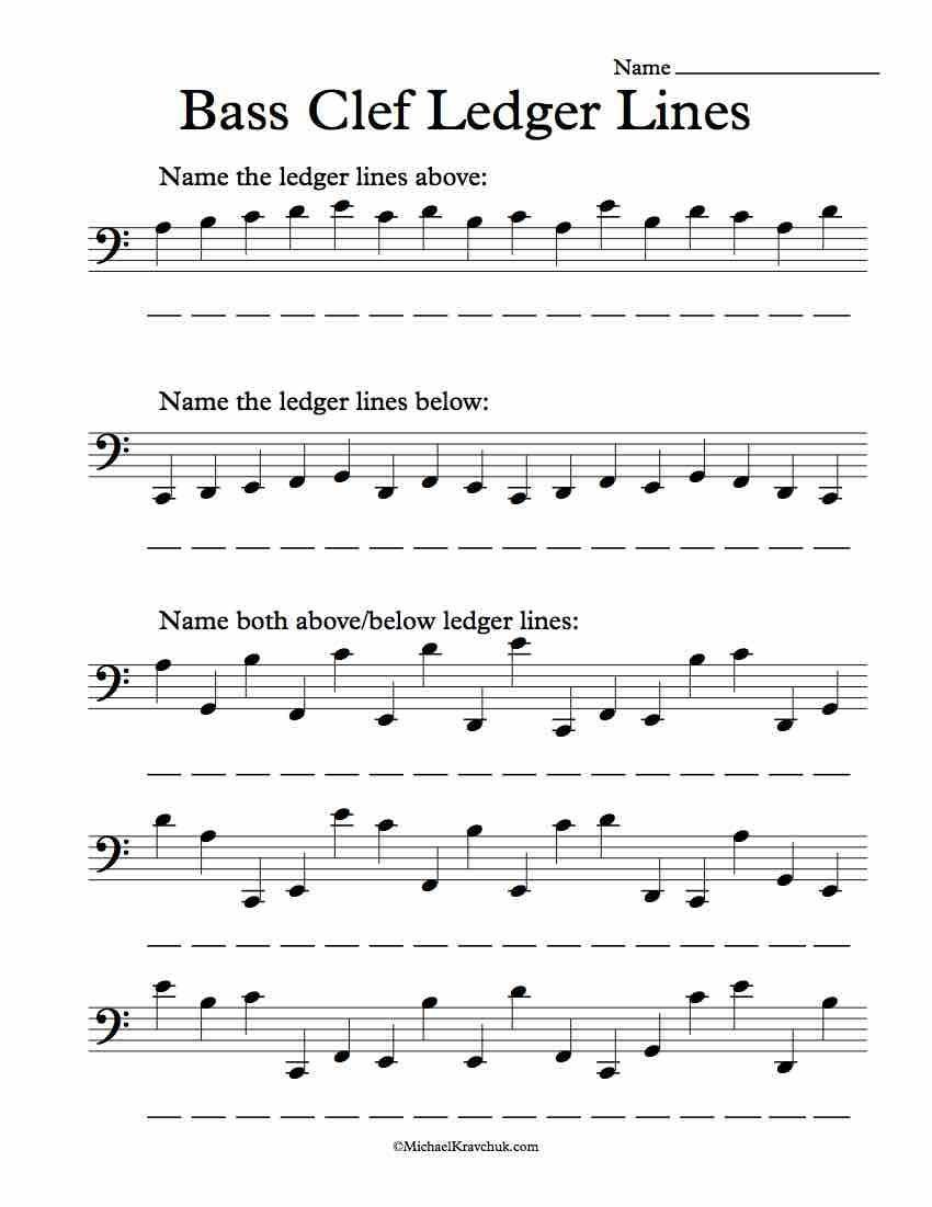 Piano Worksheets for Beginners Free Bas Clef Ledger Lines Note Recognition Worksheet