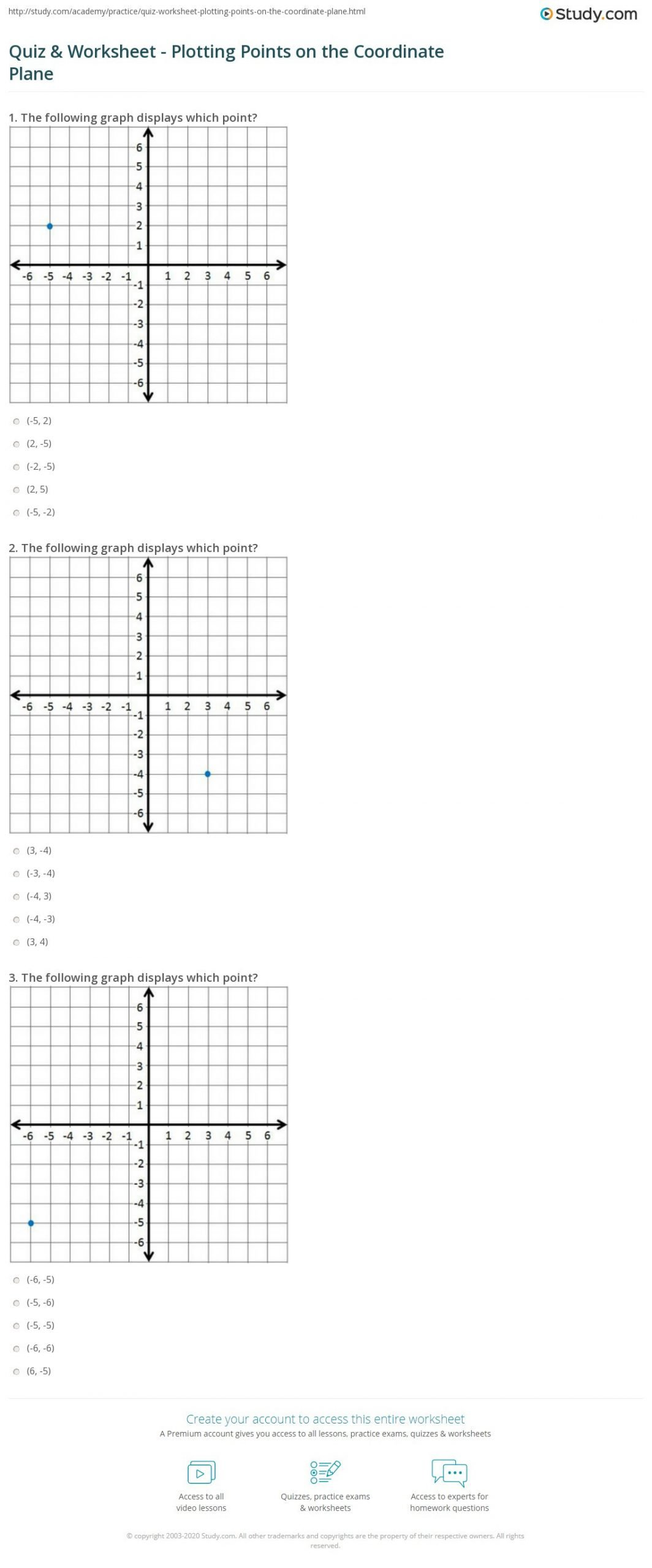 Plotting ordered Pairs Worksheet Quiz & Worksheet Plotting Points On the Coordinate Plane