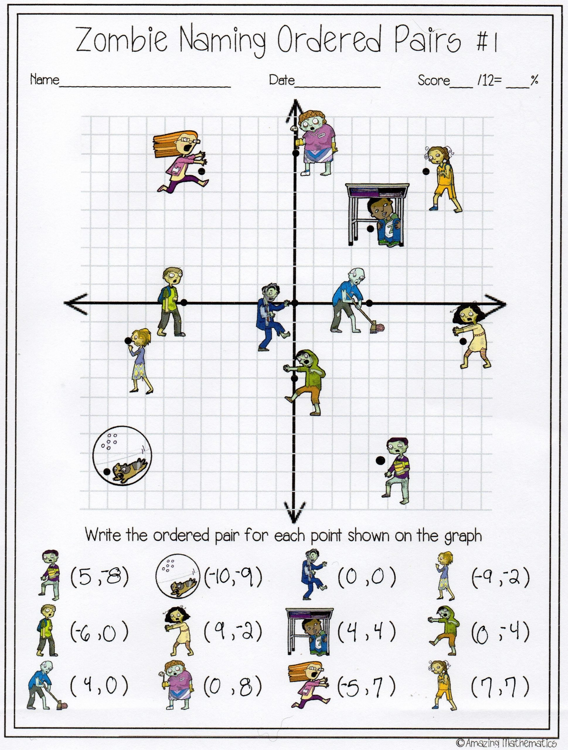 Plotting ordered Pairs Worksheets My Math Students Will Love This Zombie Naming ordered Pairs