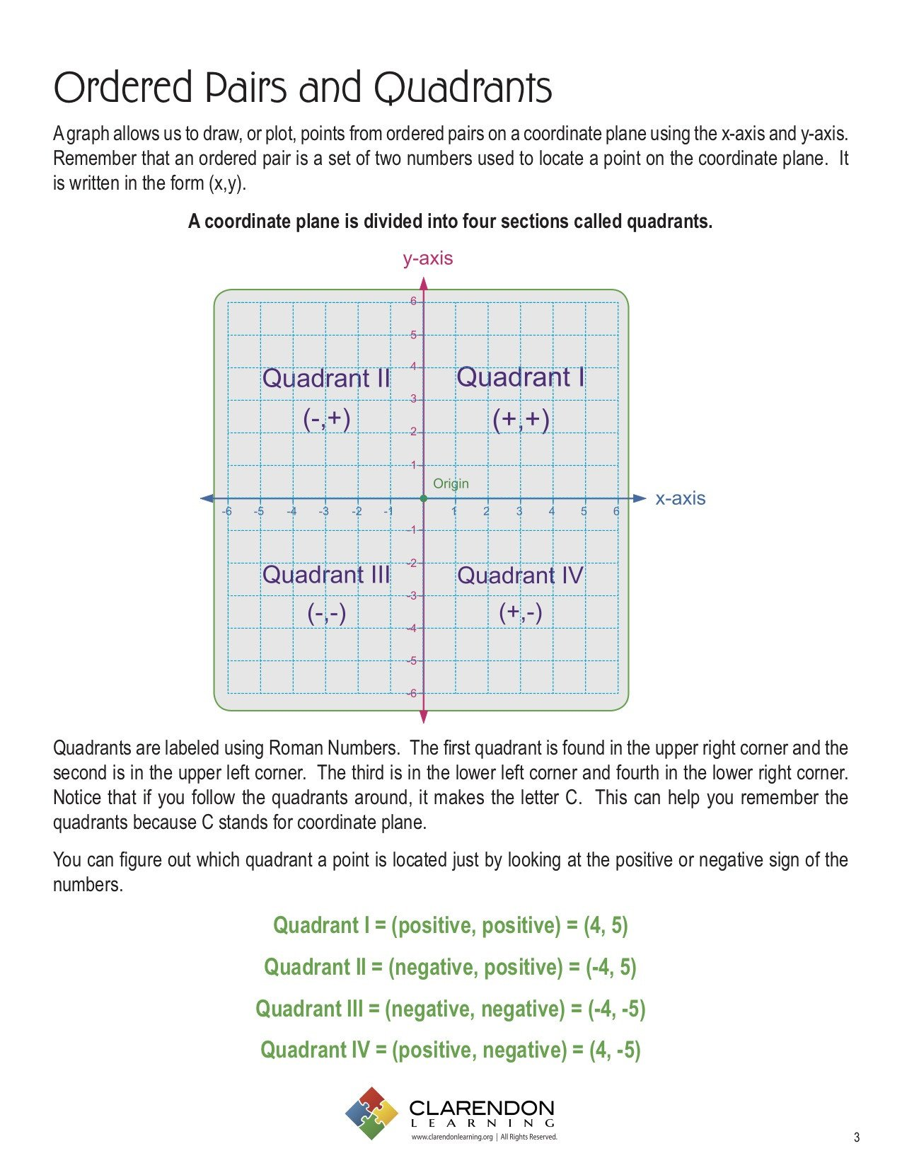Ordered Pairs and Quadrants Worksheet