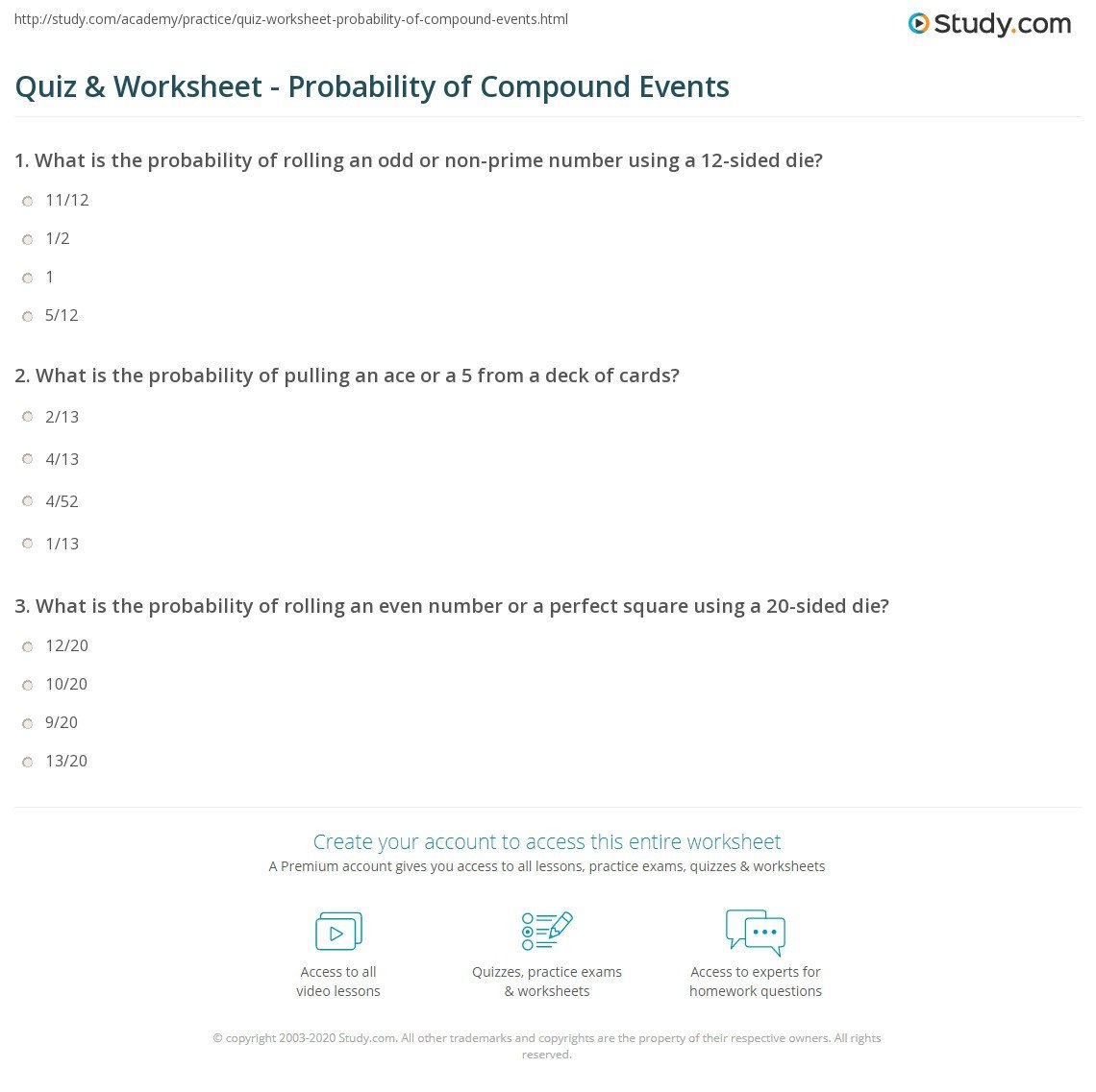quiz worksheet probability of pound events study
