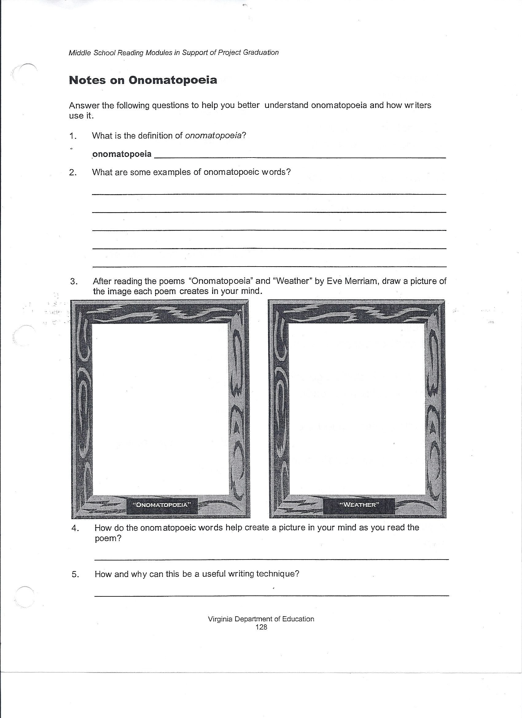 Poetry Worksheets Middle School Elements Art Worksheets