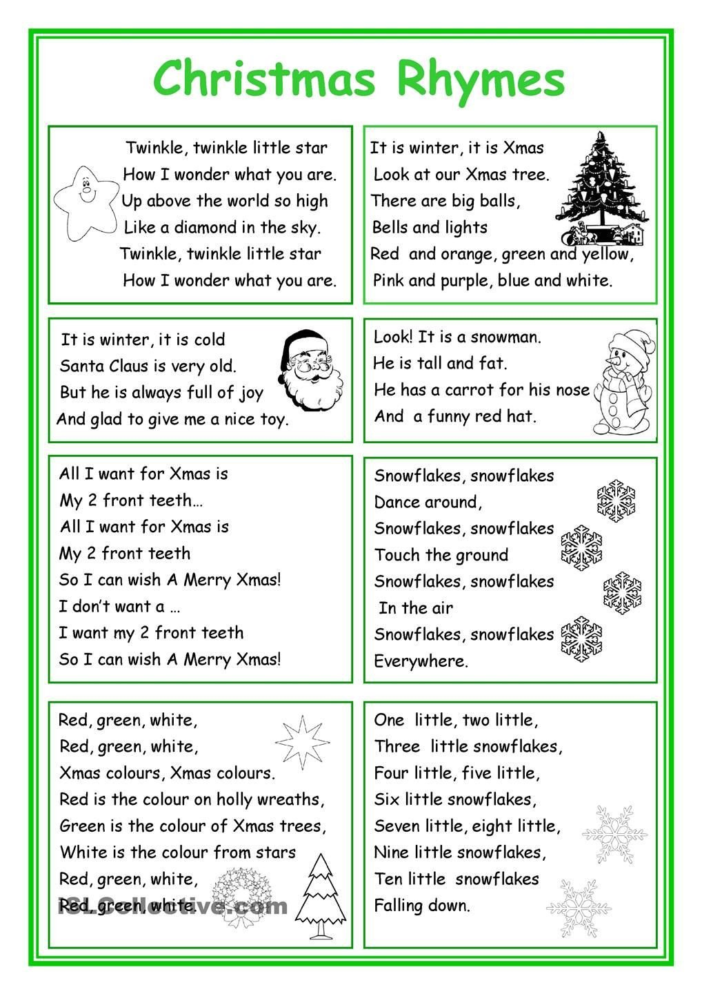 Poetry Worksheets Pdf Christmas Rhymes