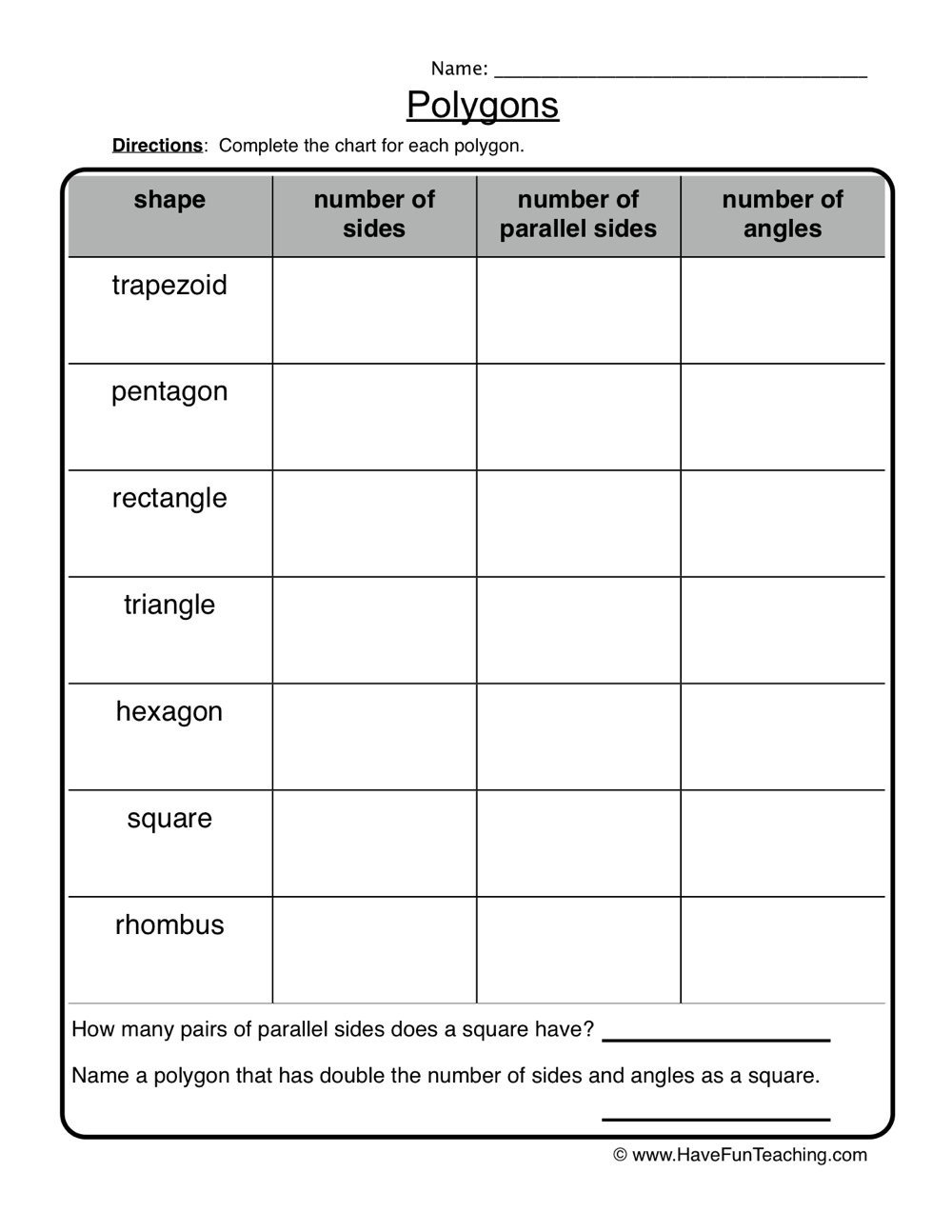 Polygon Worksheets 3rd Grade Polygons attributes Worksheet