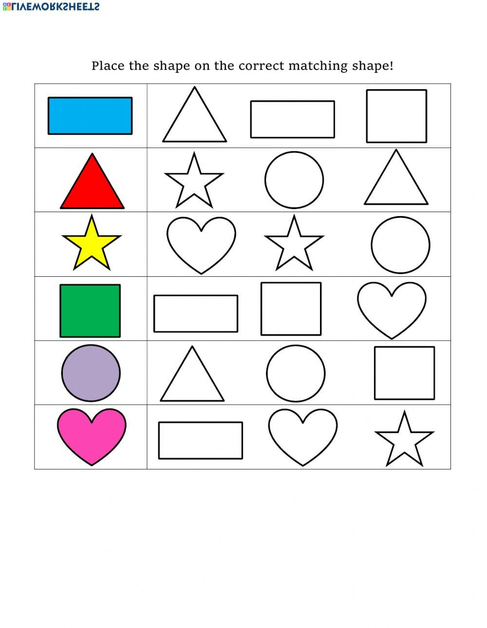 Polygon Worksheets 5th Grade Shape Matching Interactive Worksheet