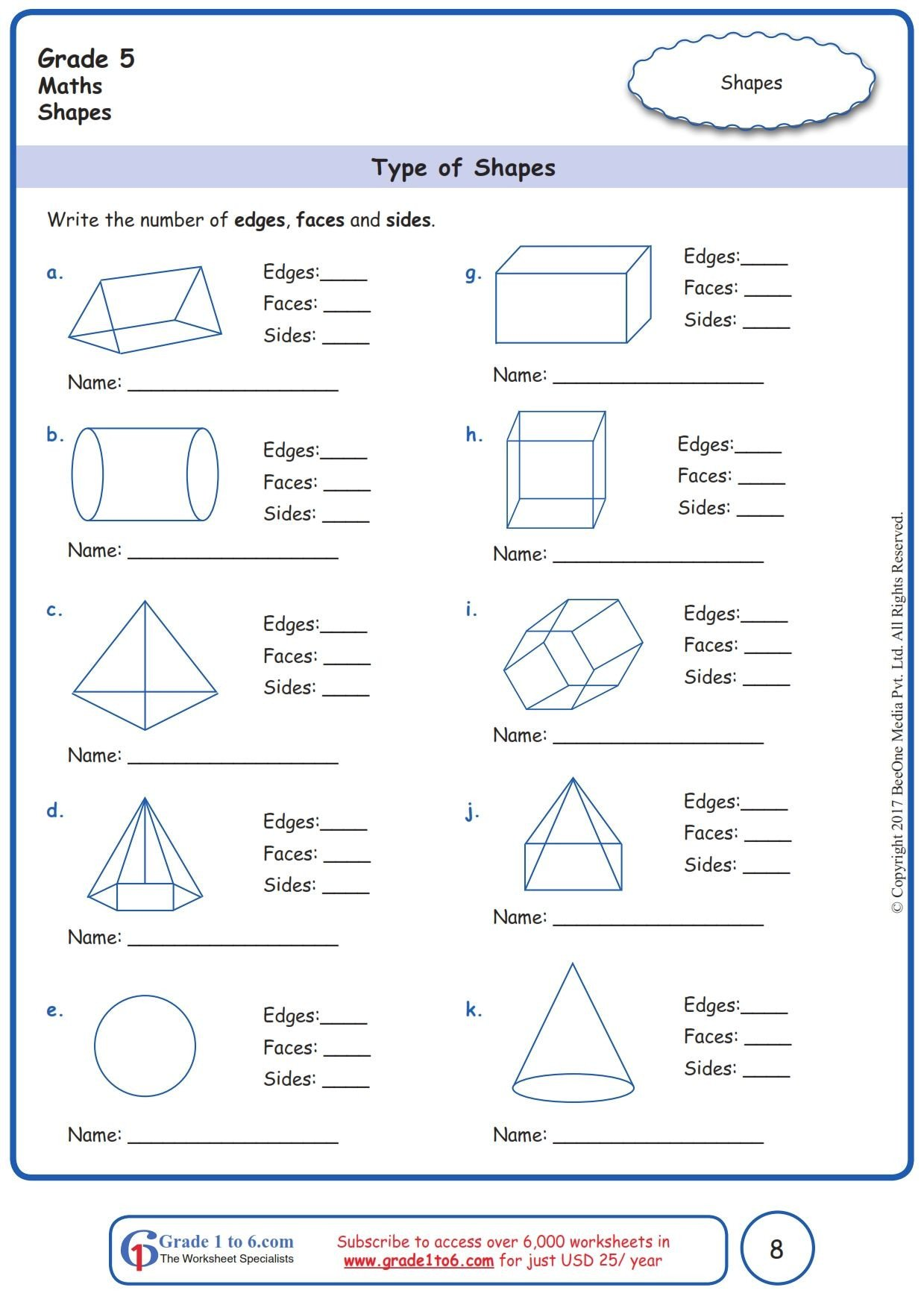 Polygon Worksheets 5th Grade Worksheet Grade 5 Math Type Of Shapes In 2020