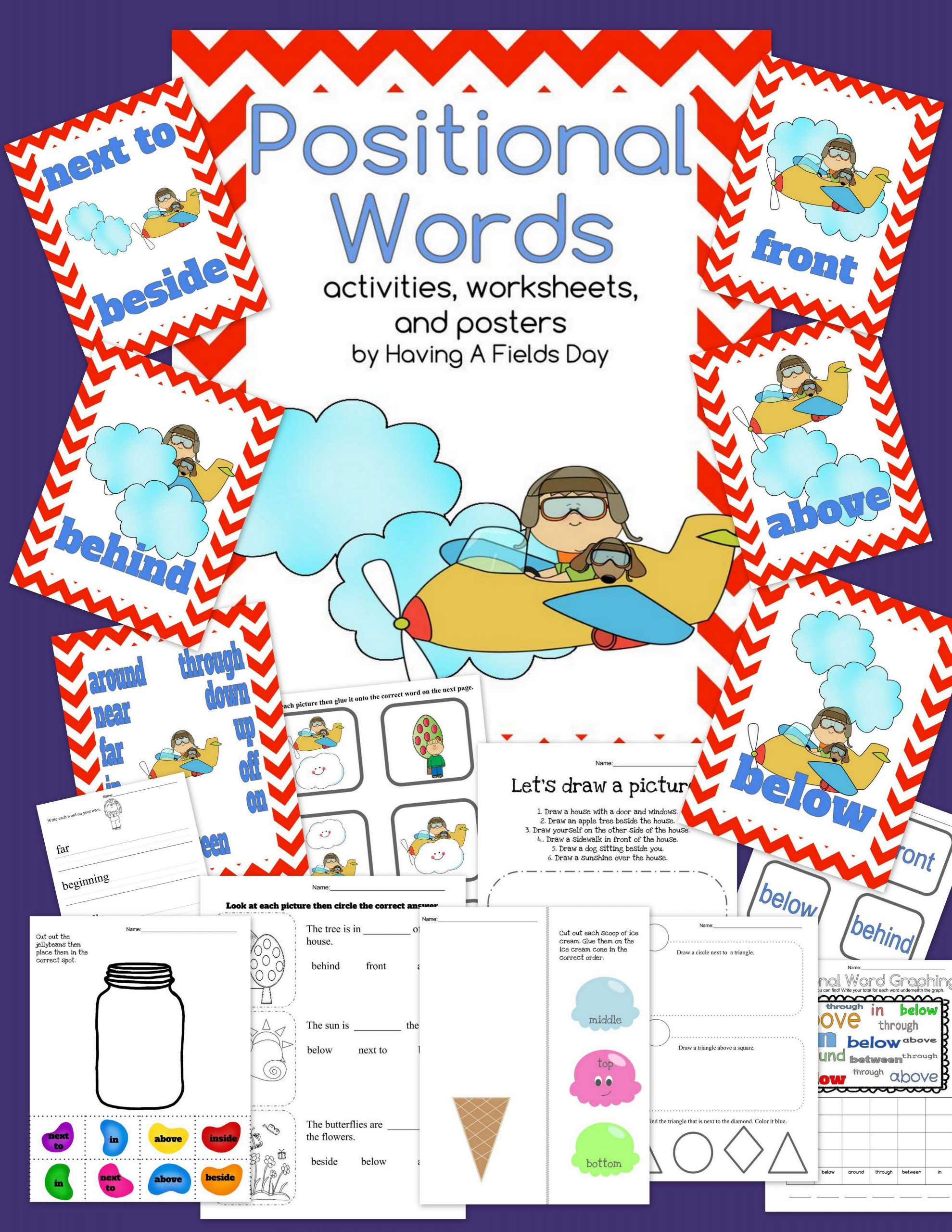 Positional Words Worksheets for Preschool Positional Words Placement Words Digital Boom Cards and