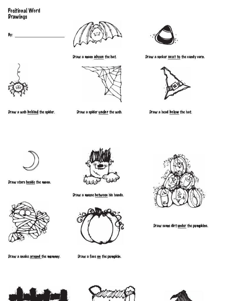Positional Words Worksheets Have Students Show their Understanding Of Positional Words