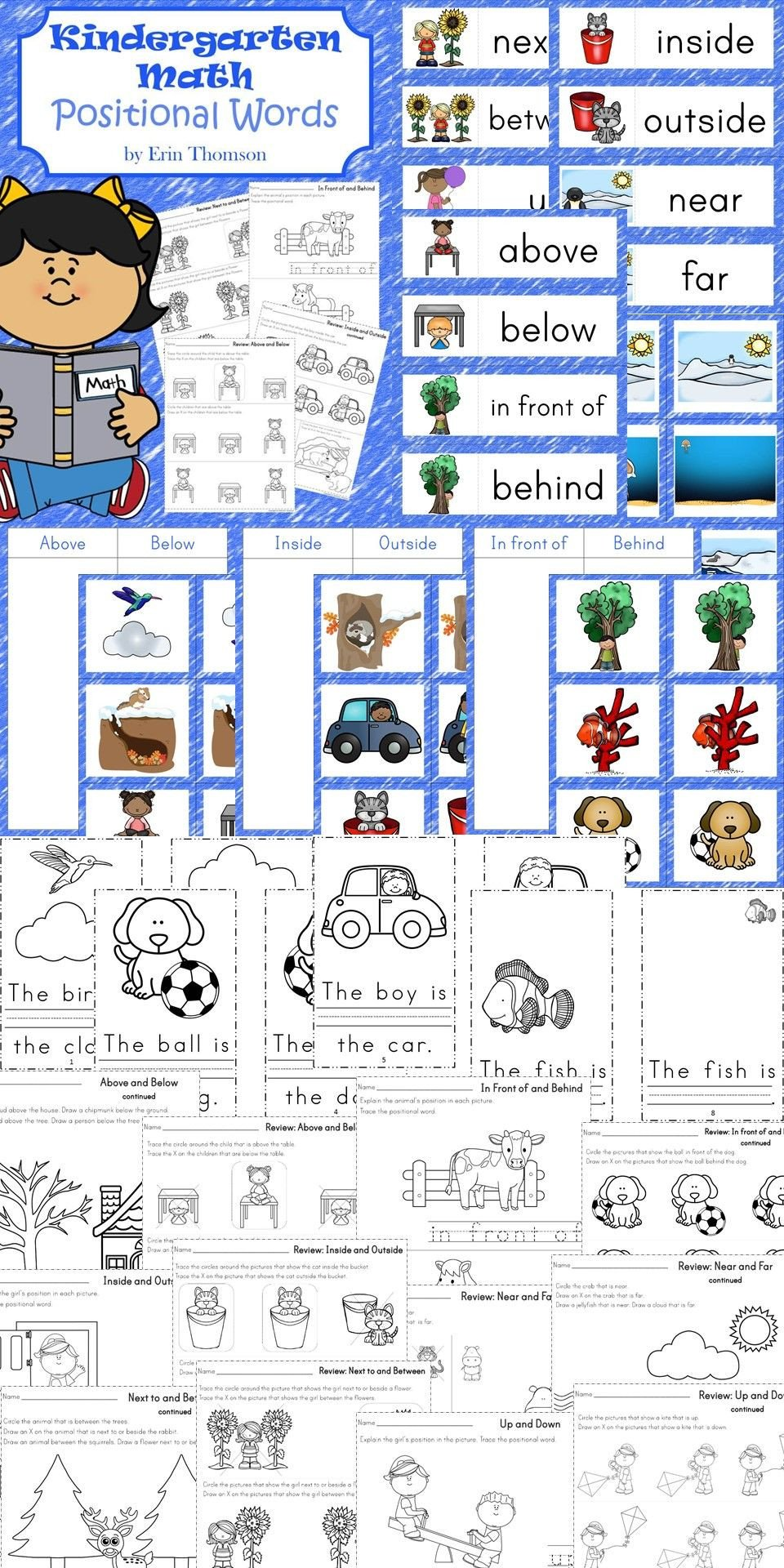 Positional Words Worksheets Worksheets sorting Cards and Books to Teach Positional