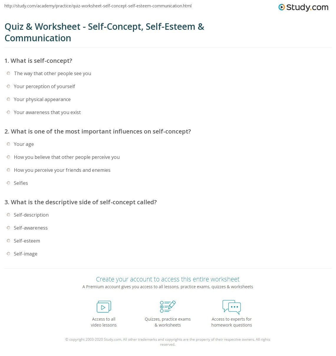 quiz worksheet self concept self esteem munication