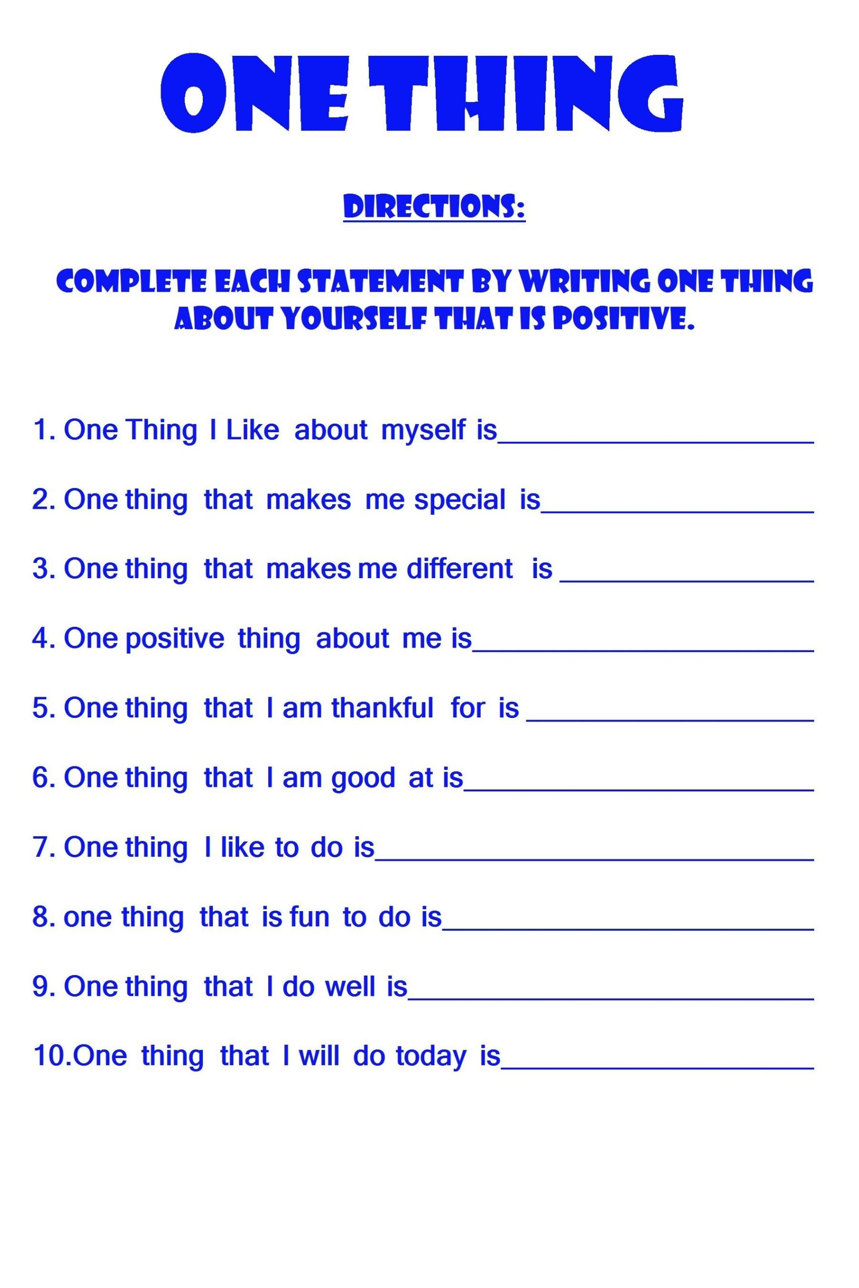 Free Positive Self Esteem Worksheet