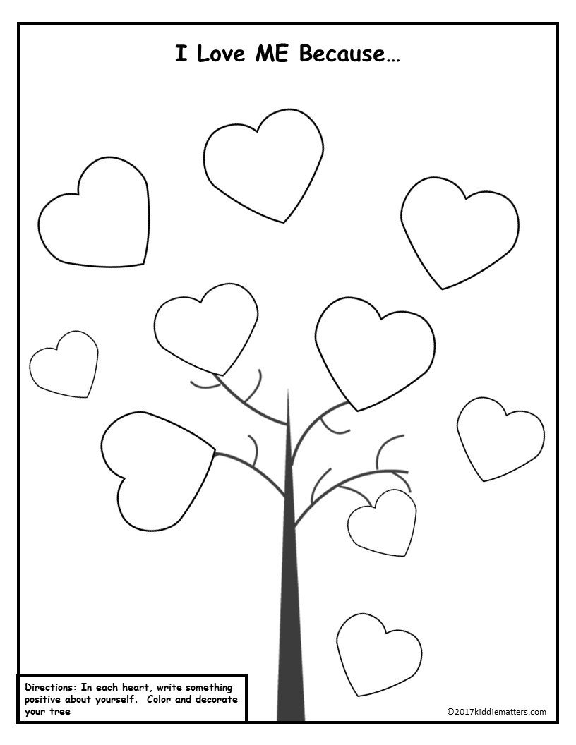 Heart Affirmation Tree worksheet