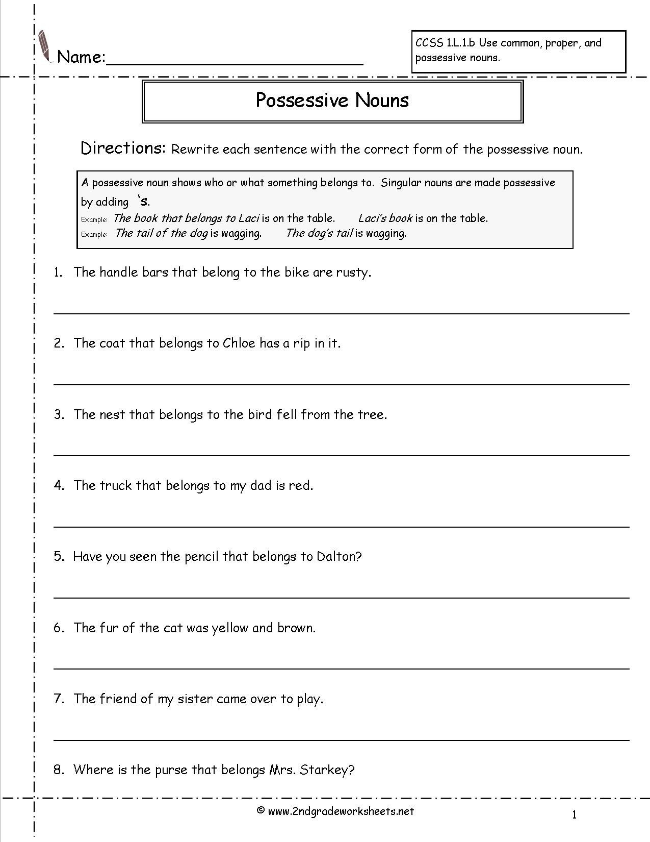 Possessive Pronoun Worksheets 5th Grade Free Pronoun Worksheet for 2nd Grade