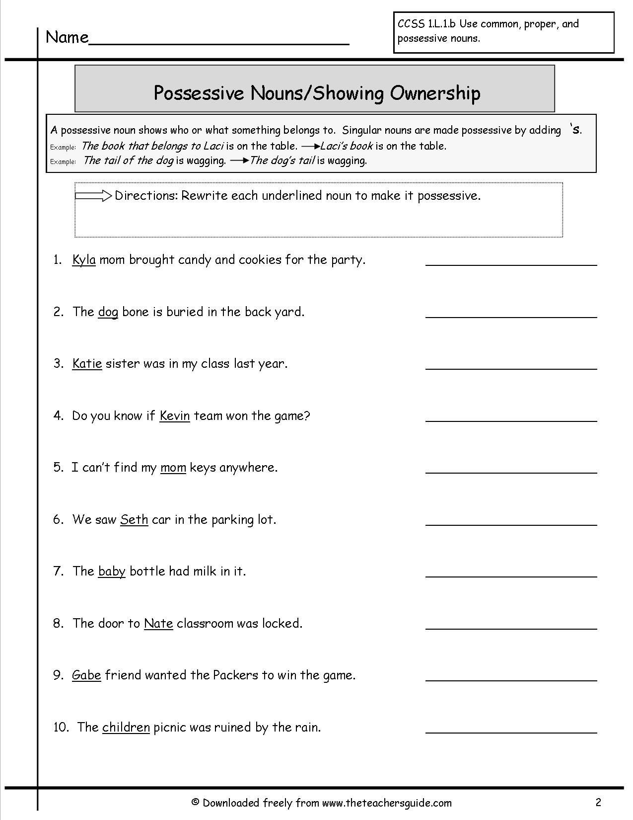 Possessive Pronouns Worksheet 2nd Grade 37 Clever Possessive Nouns Worksheets Design S