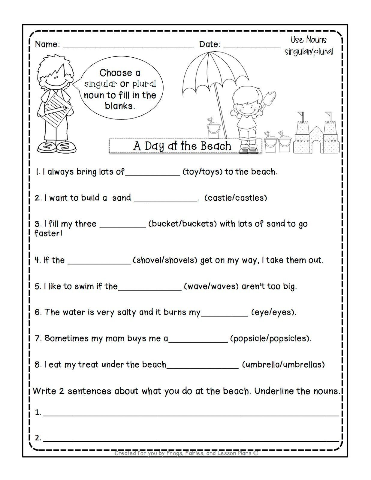 Possessive Pronouns Worksheet 2nd Grade Frogs Fairies and Lesson Plans 5 Noun Lessons You Need to