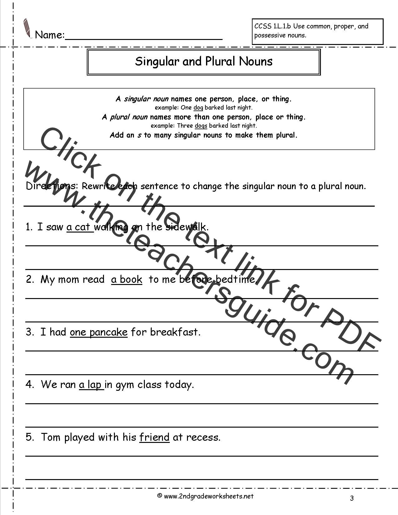 Possessive Pronouns Worksheet 2nd Grade Singular and Plural Sentences Worksheets Pdf