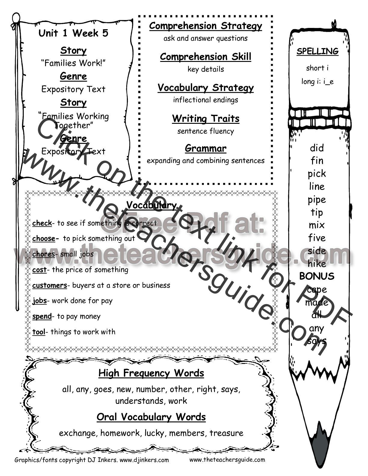 Possessive Pronouns Worksheet 2nd Grade Wonders Second Grade Unit E Week Five Printouts