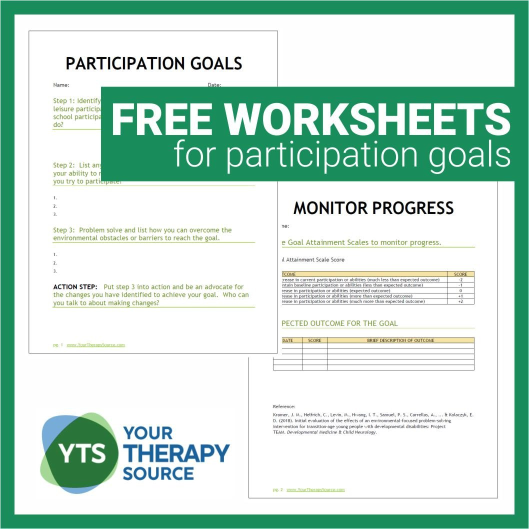Pre Vocational Skills Worksheets Participation Goals and Worksheets for Young People with