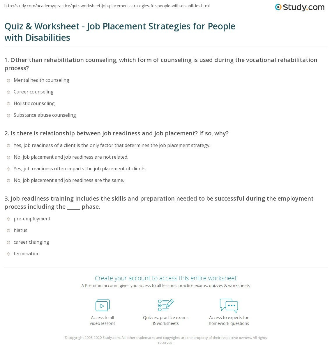 Pre Vocational Skills Worksheets Quiz & Worksheet Job Placement Strategies for People with
