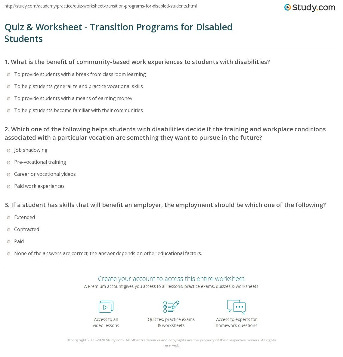 Pre Vocational Skills Worksheets Quiz & Worksheet Transition Programs for Disabled Students