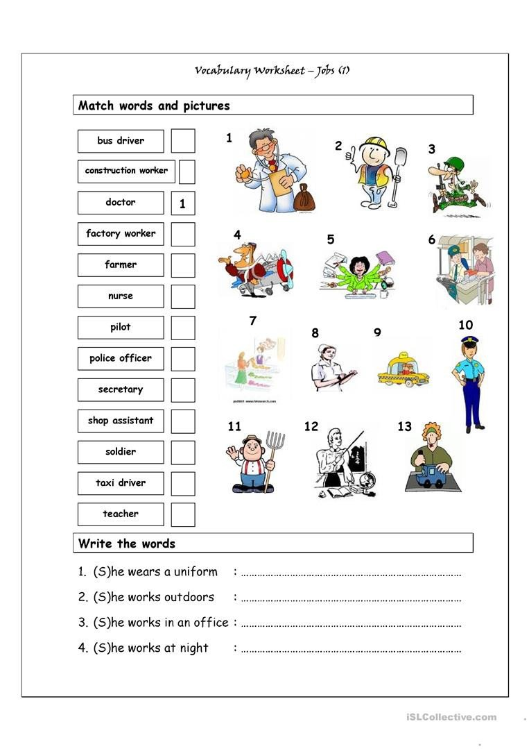 Pre Vocational Skills Worksheets Vocabulary Matching Worksheet Jobs 1 English Esl