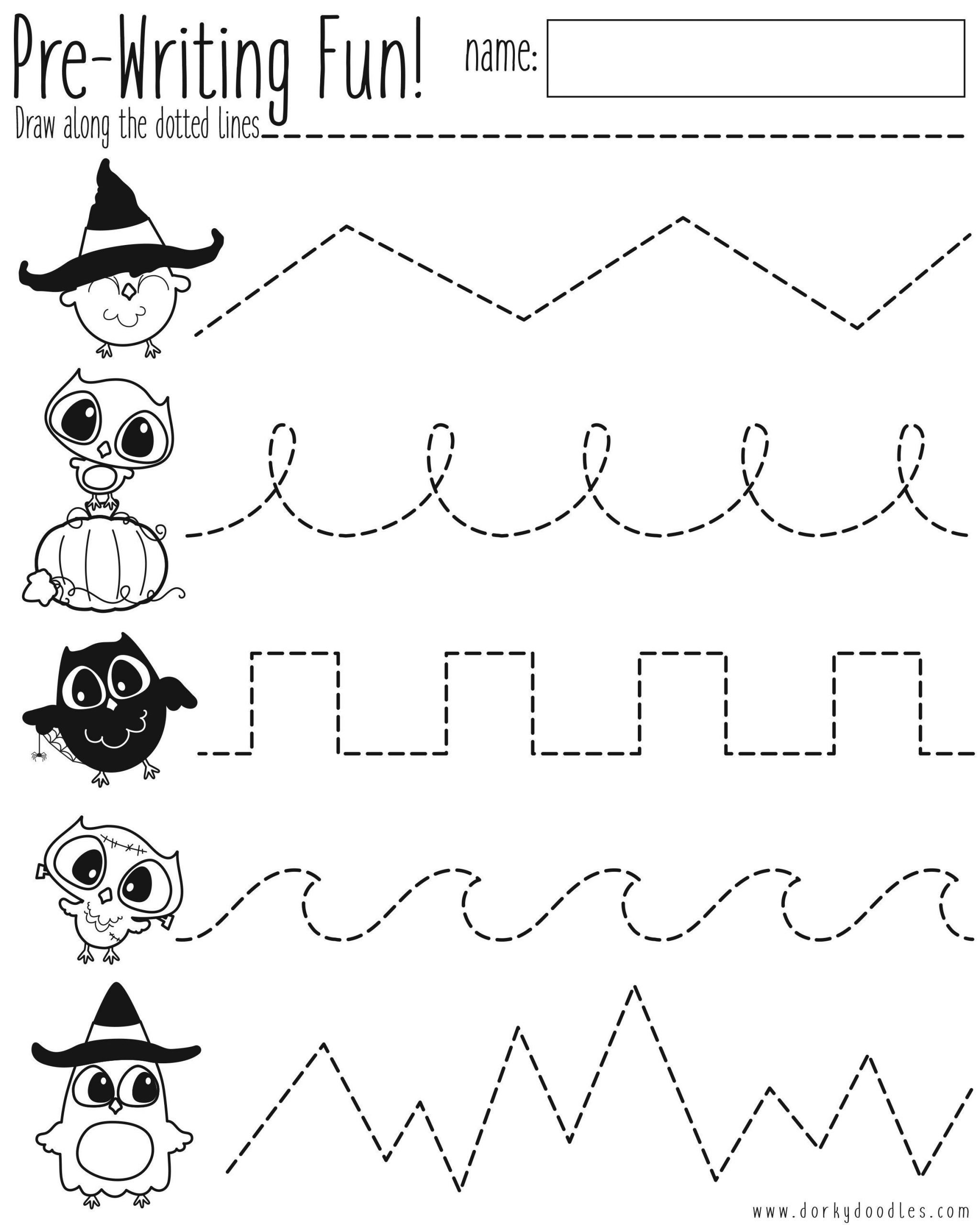 Pre Writing Worksheets Free Pre Writing Practice Halloween Worksheet
