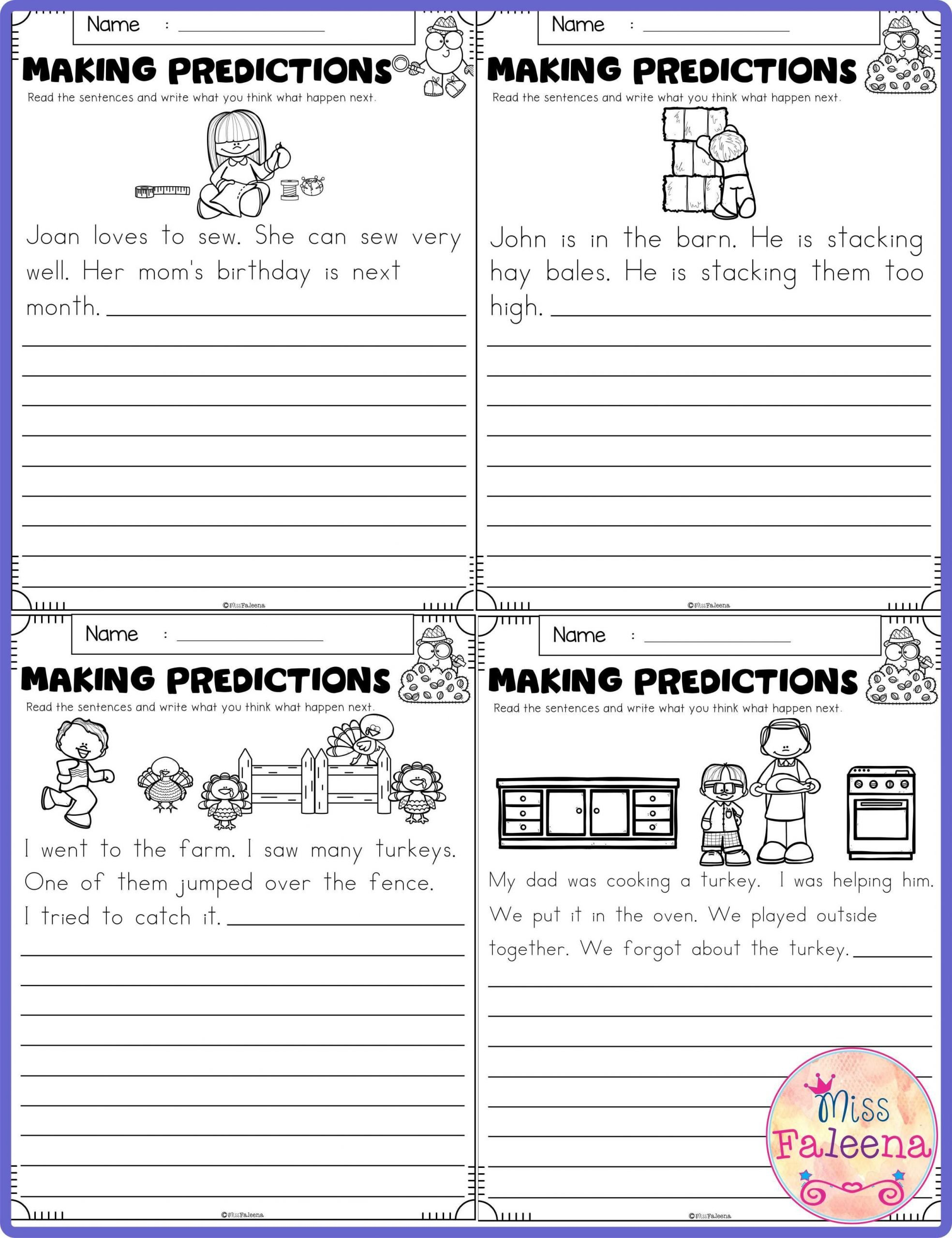 Prediction Worksheets 3rd Grade November Making Predictions Contains with total 30 Pages Of