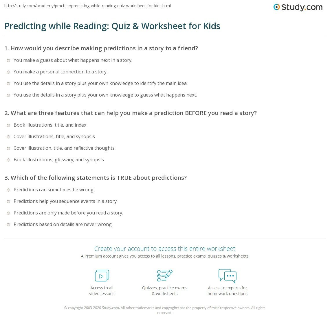 predicting while reading quiz worksheet for kids