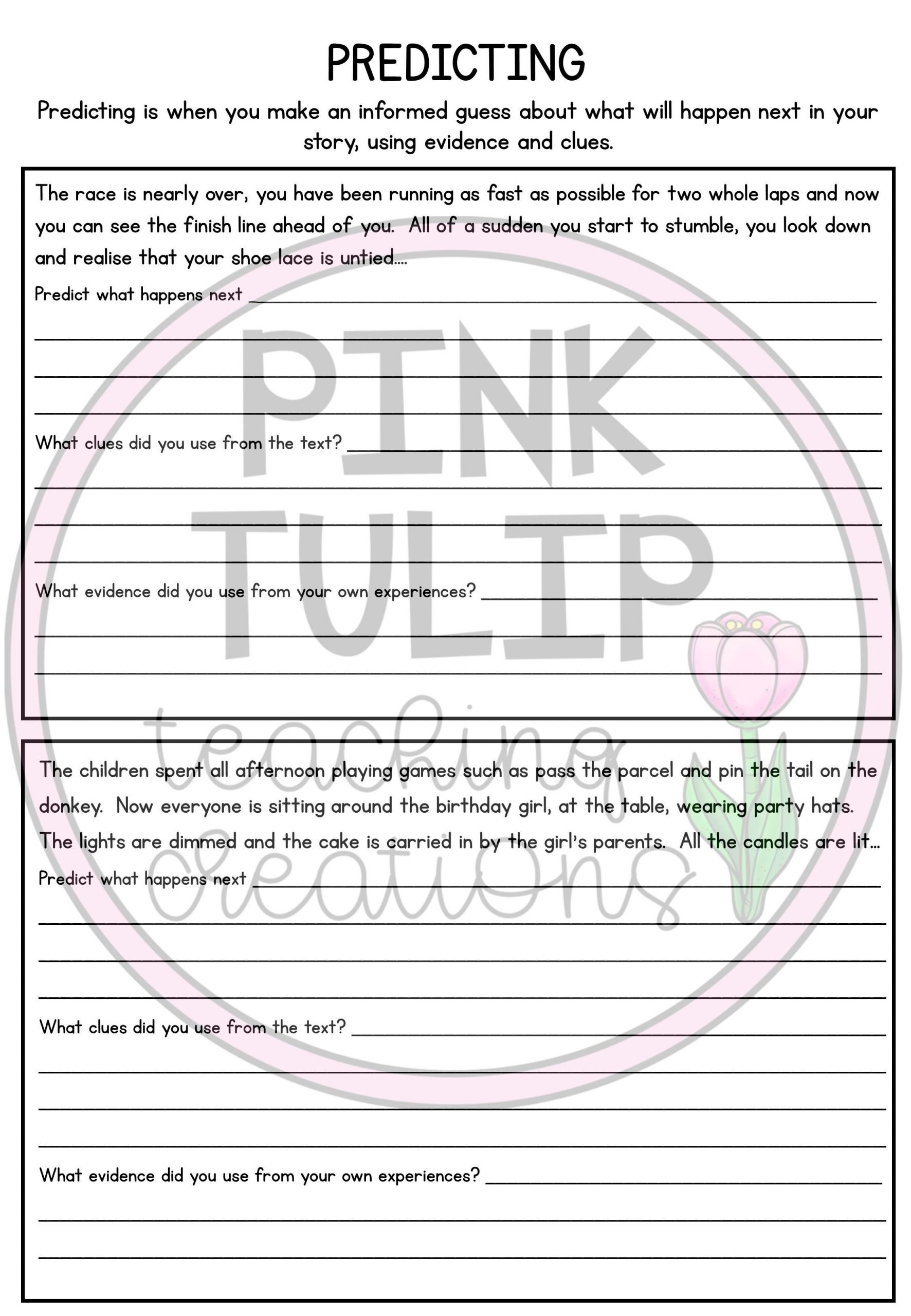 Prediction Worksheets 3rd Grade Story Predictions Worksheets