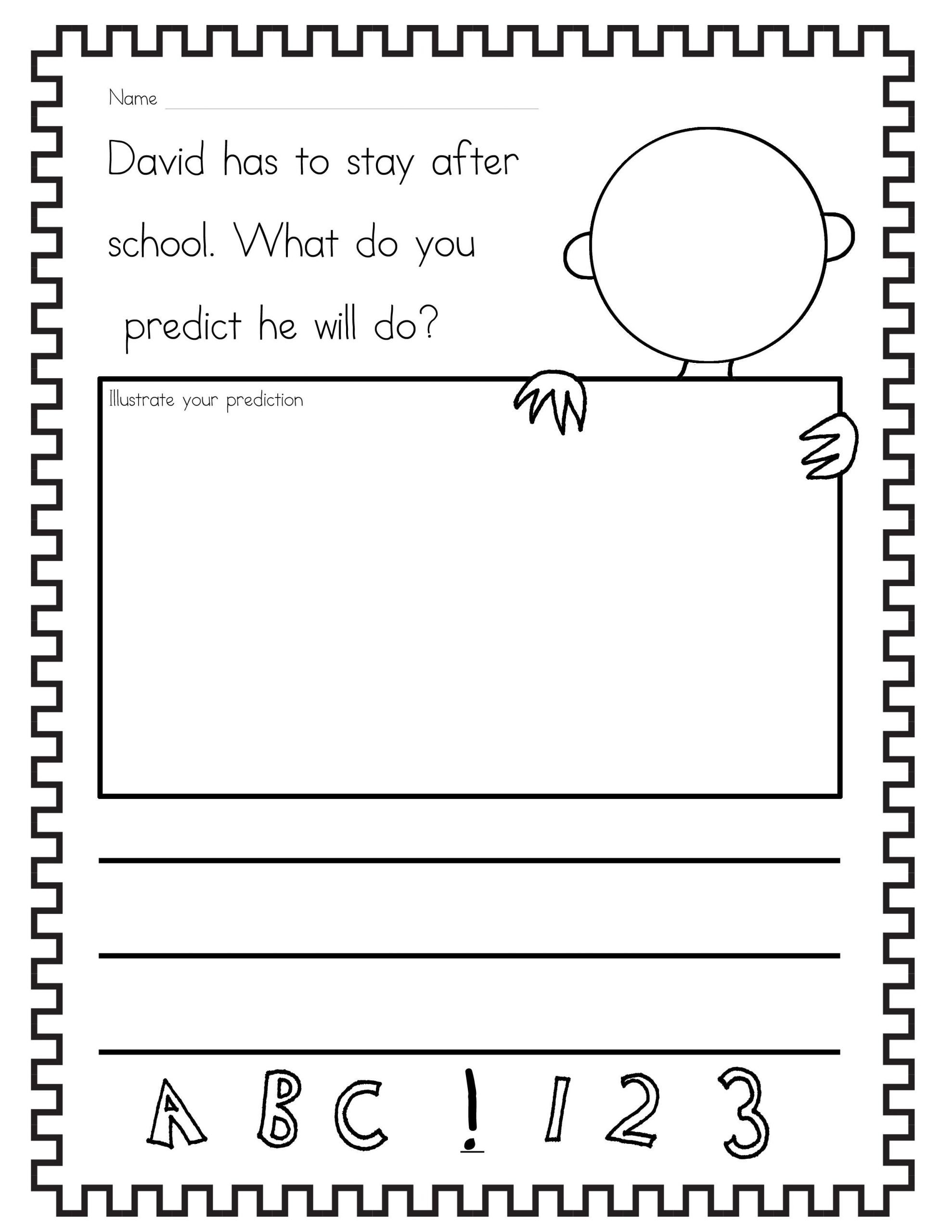 Predictions Worksheets 1st Grade Free David Goes to School Prediction Worksheet I Started