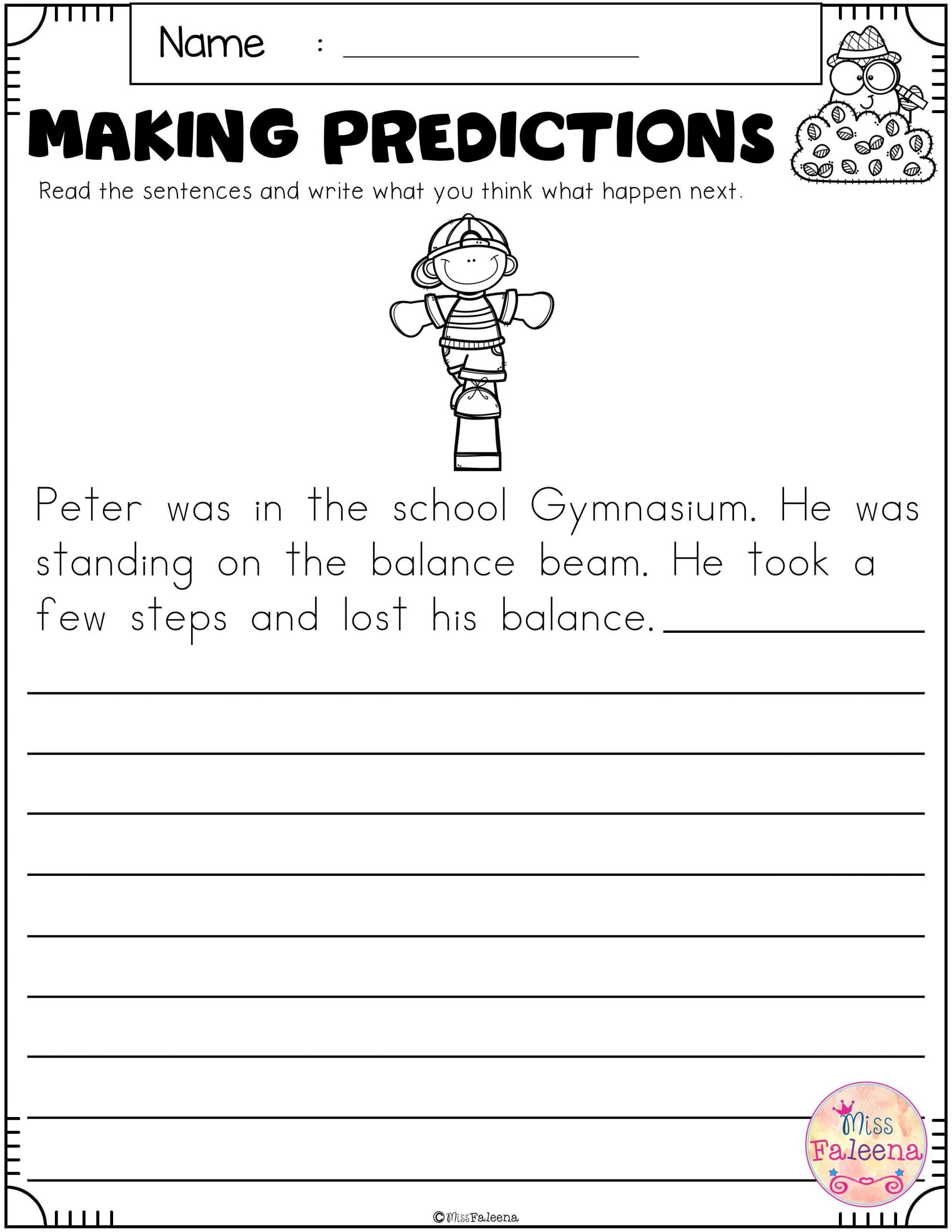 Predictions Worksheets 1st Grade Free Making Predictions In 2020