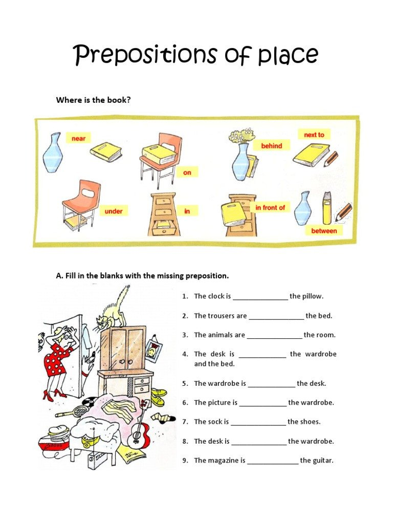 Preposition Worksheets for Grade 1 Prepositions Of Place Worksheet Consumer Goods