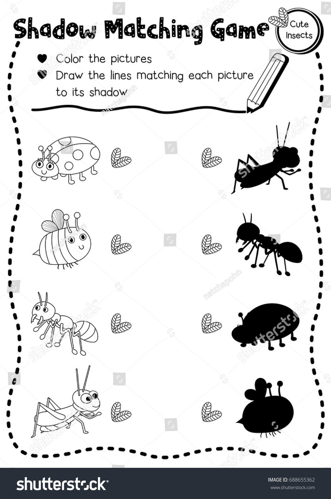 stock vector shadow matching game of insect bug animals for preschool kids activity worksheet layout in a