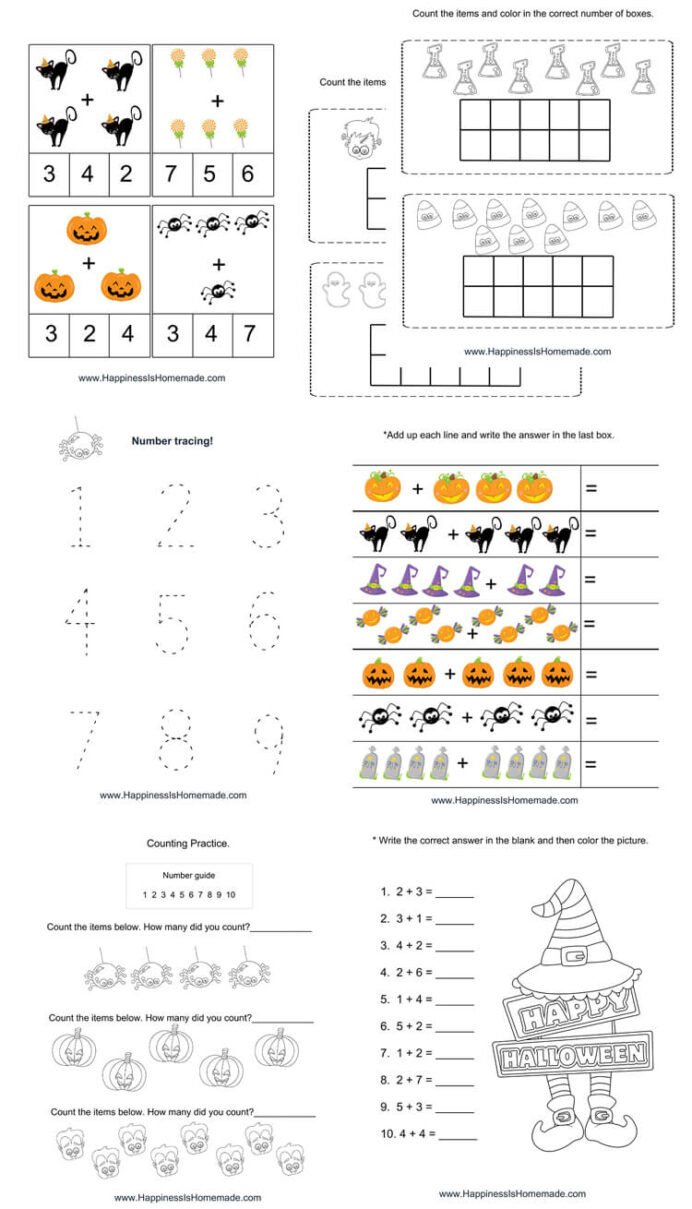 Preschool Halloween Worksheets Free Kindergarten Halloween Math Pack Happiness is Homemade
