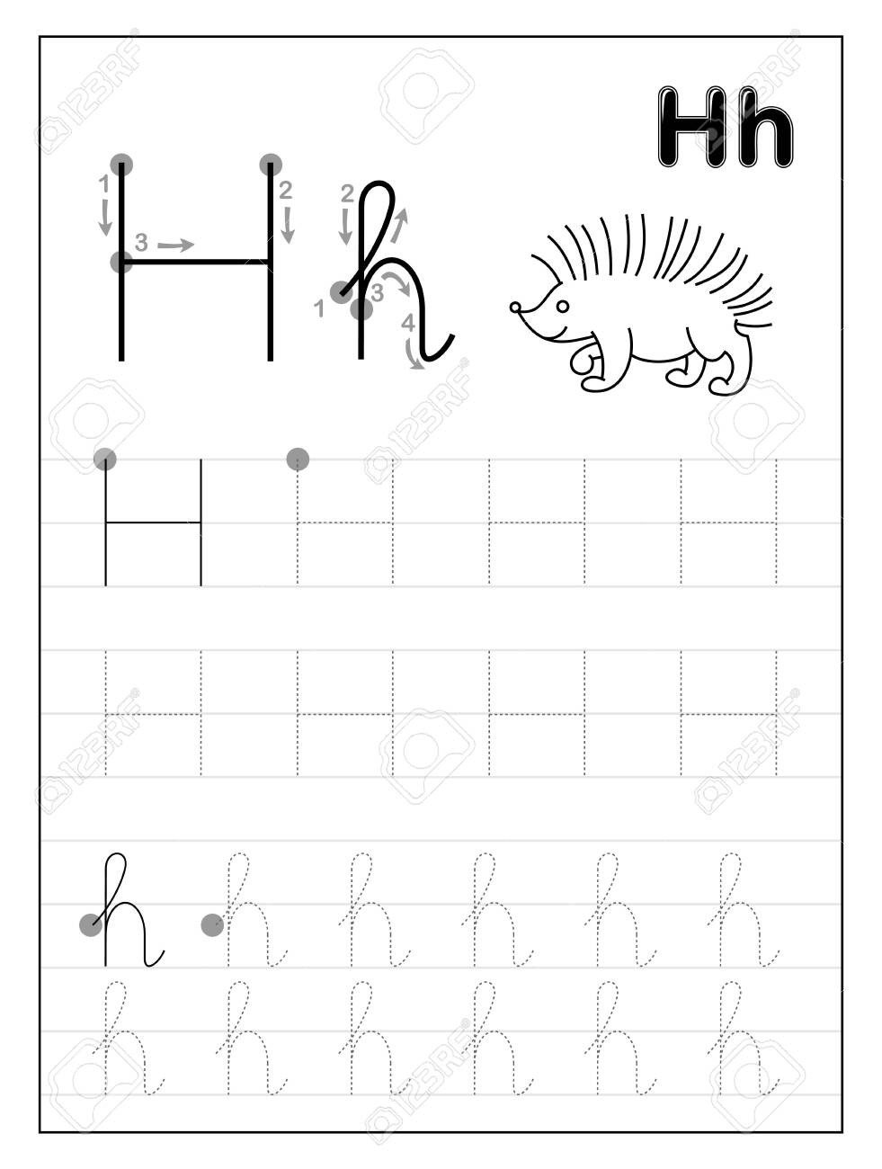 photo stock vector tracing alphabet letter h black and white educational pages on line for kids printable worksheet for