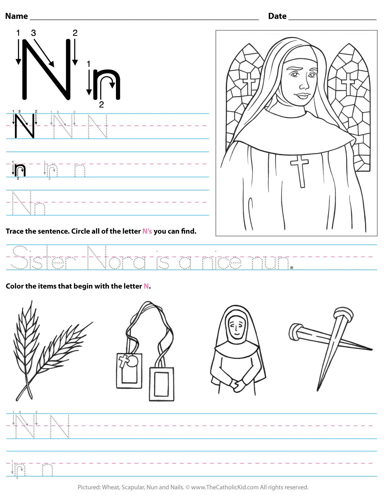 Preschool Letter N Worksheets Catholic Alphabet Letter N Worksheet Preschool Kindergarten